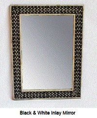 Antique Rustic Bone Inlay Mirror Frame