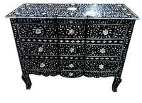 Modern Bone Inlay Painted Black White floral Chest Drawers
