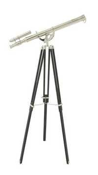Full Chrome Finish Double Barrel Telescope With Black Tripod Stand