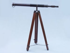 """60""""Floor Standing Oil Rubbed Bronze Leather Telescope With Tripod Stand"""