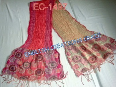 Silk Lycra with embroidery Scarves