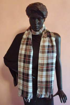 Silk Cashmere Woven Checks & Stripes scarves