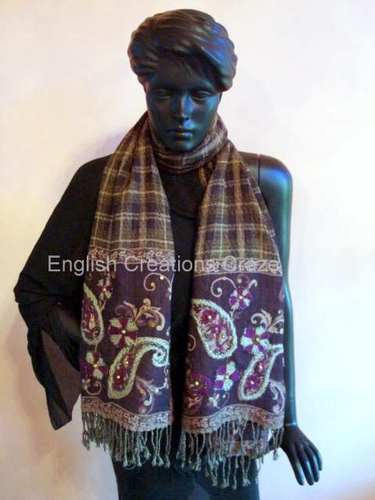 Silk Jacquard Scarves With Embroidery