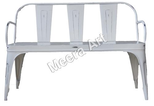 Iron White Chair Three Seater