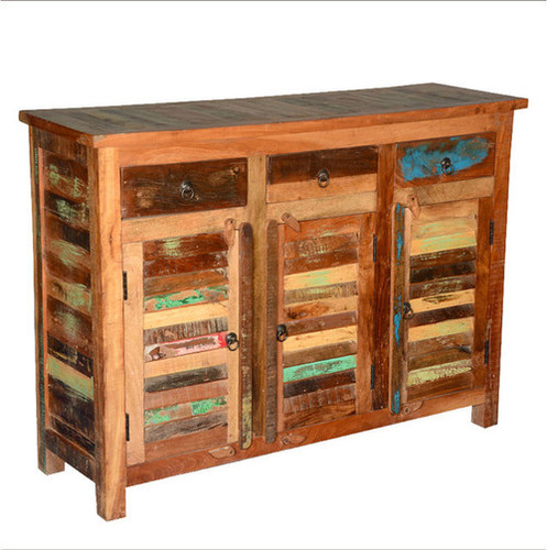 Dravin Rustic Reclaimed Wood 3 Drawer Sideboard