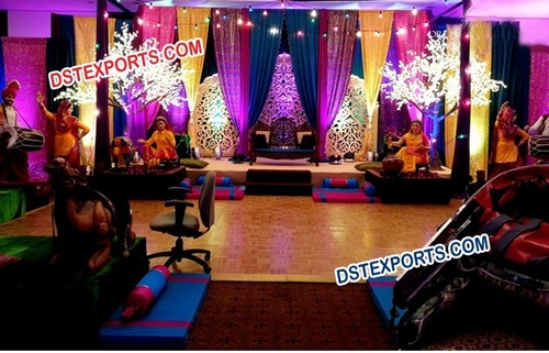 Punjabi Wedding Mehndi Stage Decoration