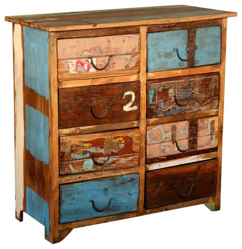 Primary Colors Reclaimed Wood 8 drawer sideboard