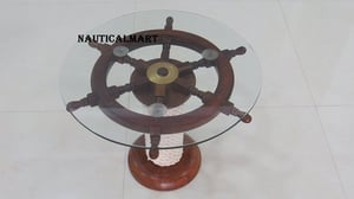 "24"" Decorative  Ship Wheel Handmade Table"