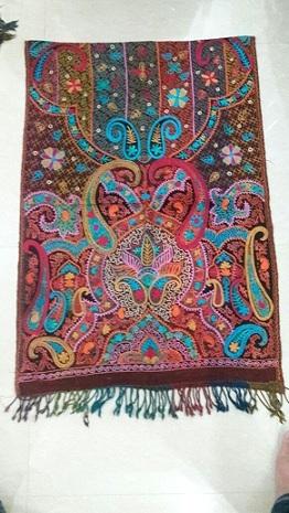 Designer Boiled Wool Aari Embroidery Shawl