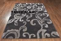 Decorative New Zealand Wool Black And Grey Carpet