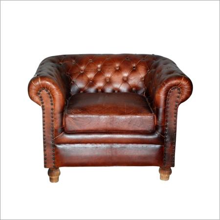 Finished Leather Single Sofa