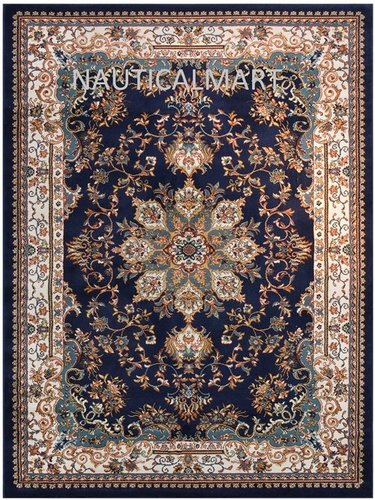 Nautical Isfahan Persian Traditional Design Area Rug (Navy Blue, 7' 10