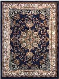 Nautical Isfahan Persian Traditional Design Area Rug (Navy Blue, 7' 10