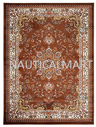 Replica Isfahan Wool Persian Area Rug (Brown, 7' 10