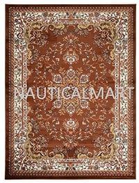 "Replica Isfahan Wool Persian Area Rug (Brown, 7' 10"" x 9' 10"")"