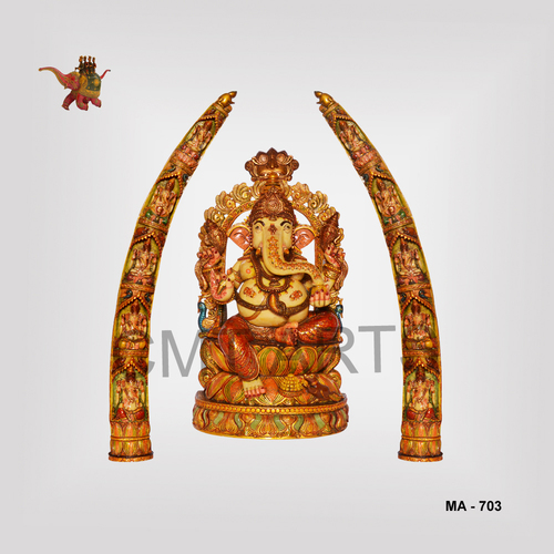 Cultured Marble Ganesha With Tusk