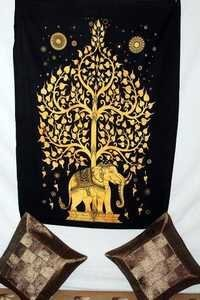 Elephant With Tree Cotton Tapestry