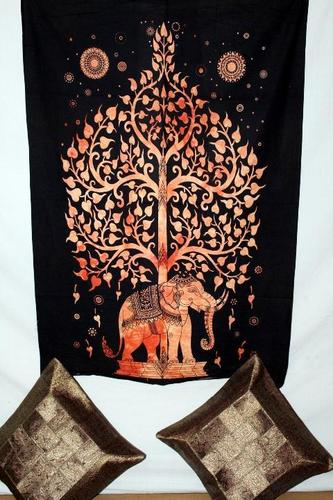 Elephant With Tree Soft Cotton Tapestry