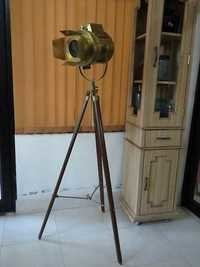 Antique Marine Nautical Spotlight Hollywood Floor Lamp Wooden Tripod