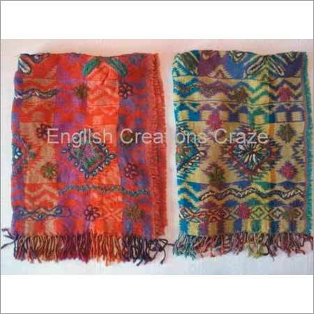 Wool/Cotton jacquard triple layer embroidery Scarves