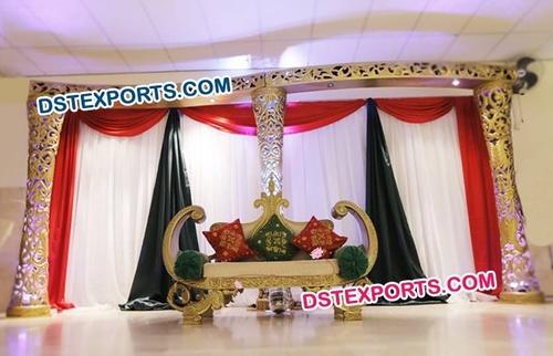 Gold Walima Theme Wedding Stage