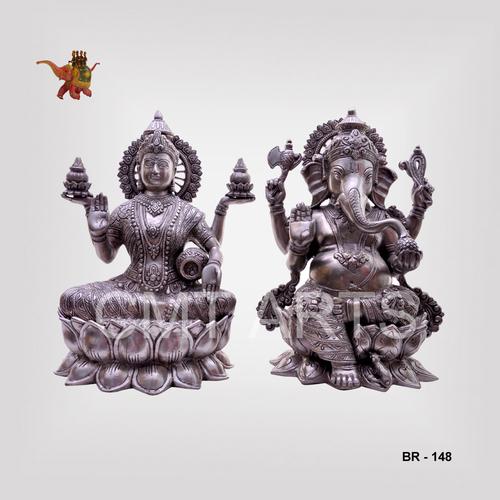Brass Silver Finish Laxmi Ganesh