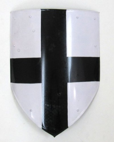 Medieval Cross Shield In Painted Steel