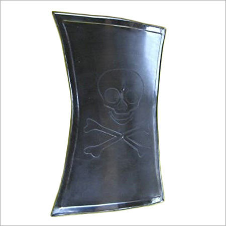 Pirate-Style Steel Shield EmbossedSkull and Crossbones Design