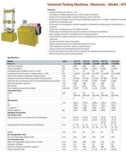 Universal Testing Machines Electronic