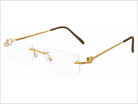 Mens Eyewear Rimless Gold Frame