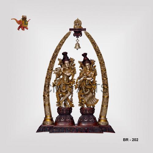 Brass Radha Krishna Jhodi with Tusk