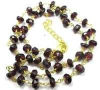 GARNET 18 INCHES GOLD PLATED NECKLACE