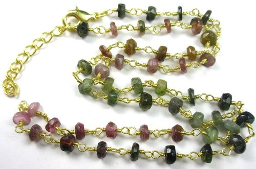 18 Inch Multi Tourmaline Gemstone Necklace