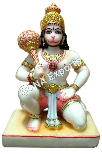 Marble Sitting Hanuman Murti From Jaipur