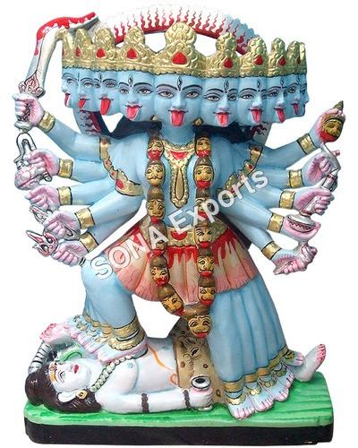 Marble Maa kaali Statue Ten Handed