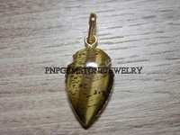 Tiger Eye Gold Electroplated Cabochon Pendant