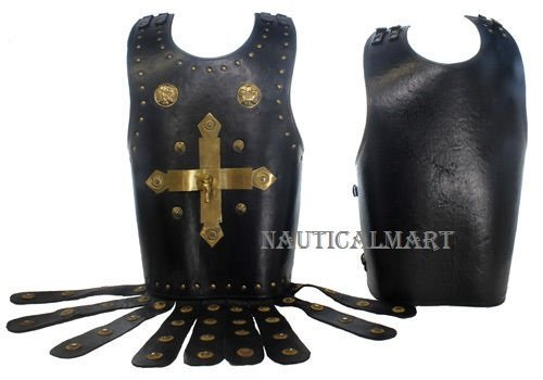 Mens Black Leather Breastplate - Armor Costume