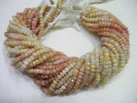 Pink Opal Faceted Rondelle 5-6 mm Beads-13 Inch Long Strand