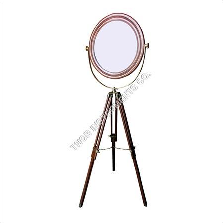 Antique Mirror On Brown Vintage Stand