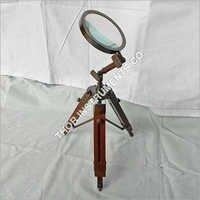 Vintage Antique Bronze Magnifier Brown Tripod