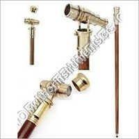 Vintage Wooden Walk Stick Telescope Look Handcraft