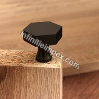 Brass Door Knob - Hex Grey Knob