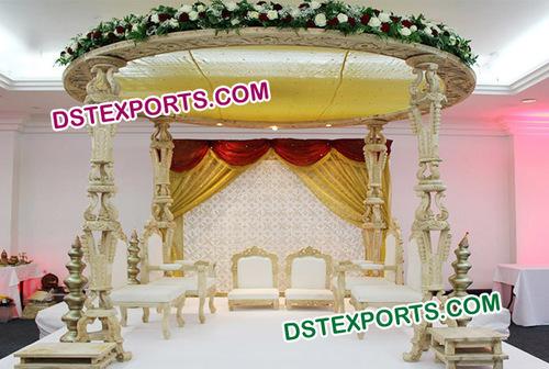 Wooden Carved Wedding Mandap New Design