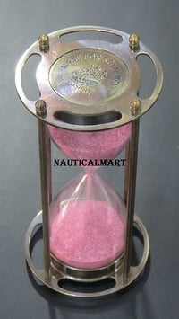 """6""""Beautiful Brass Sand Timer Hourglass With Pink Color Sand"""