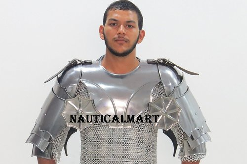 Medieval Larp Armor Gorget Set With Pauldrons- Medieval Costume