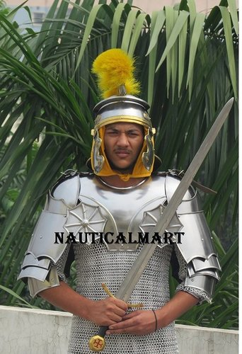 Medieval Gothic Armor Set With Medieval Centurion Helmet & Gorget With Pauldrons
