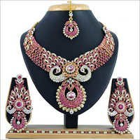 Pink Alloy Necklace Set