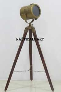 Modern Collectible Antique Searchlight Spotlight With Tripod Stand