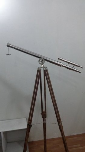 Collectible Nautical Brass Double Barrel Telescope With Tripod Stand