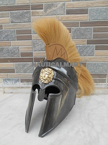 Greek Corinthian Helmet Black Finish & Yellow Plume